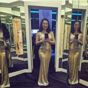 Gold Sequin Oscars Gown
